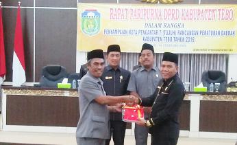 Masa Sidang Pertama, DPRD Paripurna Nota Pengantar Ranperda Kabupaten Tebo