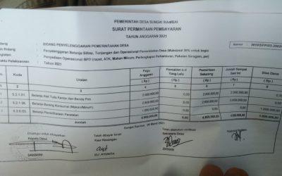 Dikemanakan anggaran Kegiatan BPD Sungai Rambai ?